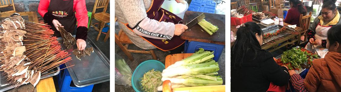 串串香菜品的切配和串制